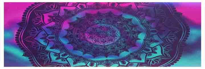 Blauw Magenta achtergrond met mandala afbeelding